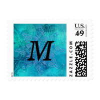 Blue Snowflakes Monogram- Merry Christmas Holiday Postage