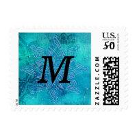 Blue Snowflakes Monogram- Merry Christmas Holiday Postage