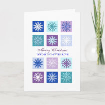 Blue Snowflakes Mother Merry Christmas Card