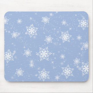 Blue Snowflakes Mouse Pad