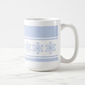 blue snowflakes on christmas mug