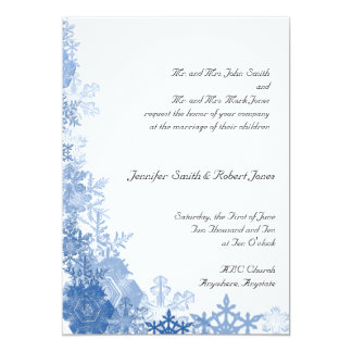 Blue Snowflakes on White Background Announcements
