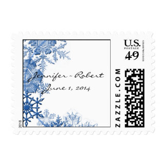Blue Snowflakes on White Background Stamp