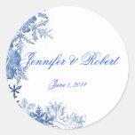 Blue Snowflakes on White Background Stickers