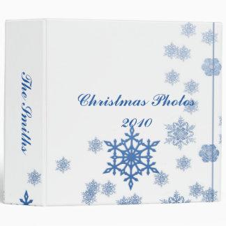 Blue Snowflakes on White Binder