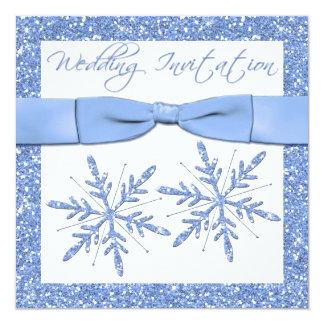 Blue Snowflakes on White Square Wedding Invite