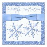 """Blue Snowflakes on White Square Wedding Invite 5.25"""" Square Invitation Card"""