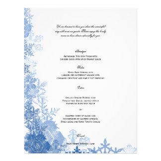Blue Snowflakes on White Wedding Menu
