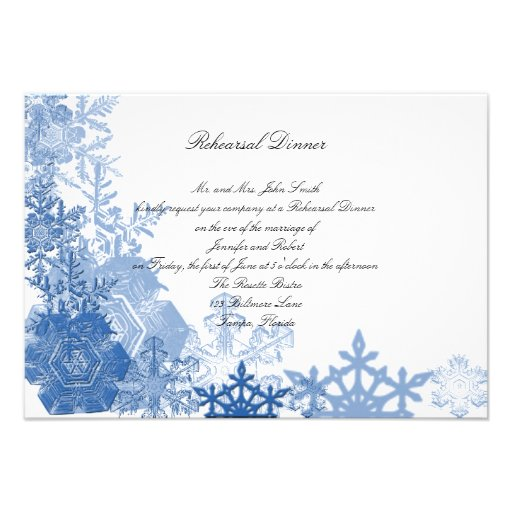 Blue Snowflakes on White Wedding Rehearsal Dinner Personalized Announcement