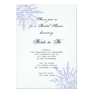 Blue Snowflakes on White Winter Bridal Shower Card