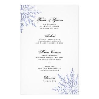 Blue Snowflakes on White Winter Wedding Menu
