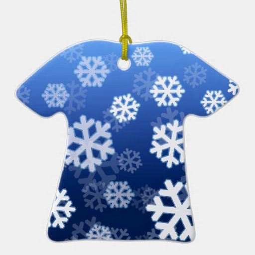Blue Snowflakes Double-Sided T-Shirt Ceramic Christmas Ornament