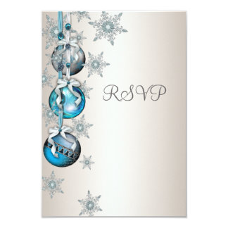 Blue Snowflakes Ornaments Christmas Party RSVP Card
