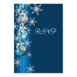 Blue Snowflakes Ornaments Christmas Party RSVP 3.5x5 Paper Invitation Card