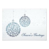 blue snowflakes ornaments Holiday Greetings Card