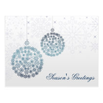 blue snowflakes ornaments Holiday postCards