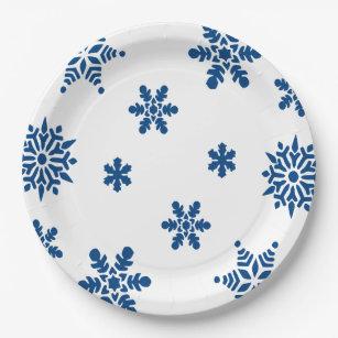 Blue Snowflakes Paper Plates  sc 1 st  Zazzle & Blue Snowflake Christmas Plates | Zazzle