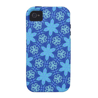 Blue Snowflakes Pattern Case-Mate iPhone 4 Cases