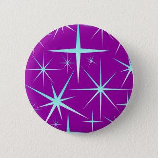 Blue snowflakes pattern on purple pinback button