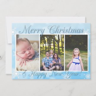 Blue Snowflakes Personalize Photo Christmas