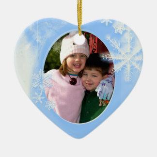 Blue Snowflakes Photo Christmas Ornament