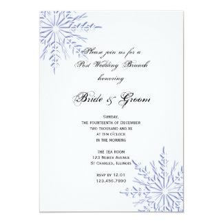 Blue Snowflakes Post Wedding Brunch Invitation