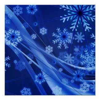 Blue Snowflakes Poster