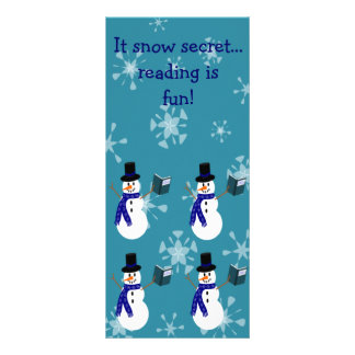 Blue Snowflakes Reading Snowman Bookmarks Rack Card Template