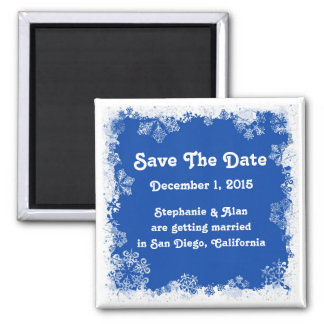 Blue Snowflakes Save The Date Magnet