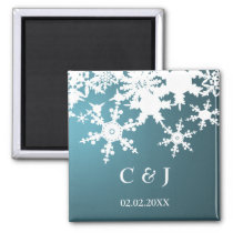 blue snowflakes save the date magnets