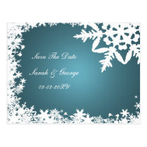 blue snowflakes save the date postcard