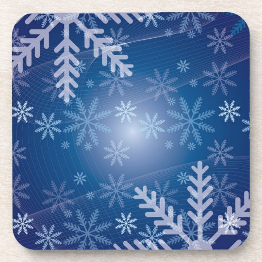 Blue Snowflakes Set of Cork Coasters