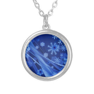 Blue Snowflakes Silver Plated Necklace