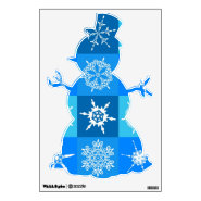 Blue Snowflakes Snowman Christmas Wall Decals
