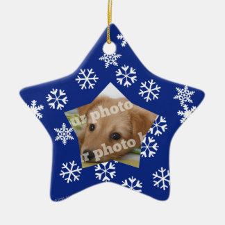 Blue Snowflakes Star Custom Photo Frame Ornament