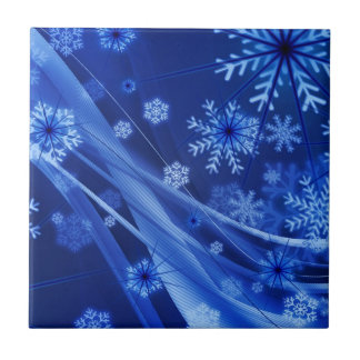 Blue Snowflakes Small Square Tile