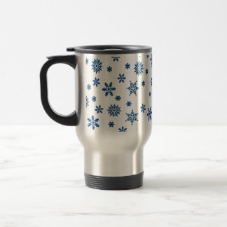 Blue Snowflakes Travel Mug