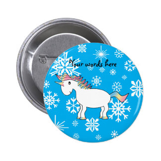 Blue snowflakes unicorn christmas gifts 2 inch round button