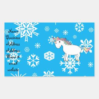 Blue snowflakes unicorn christmas gifts rectangular sticker