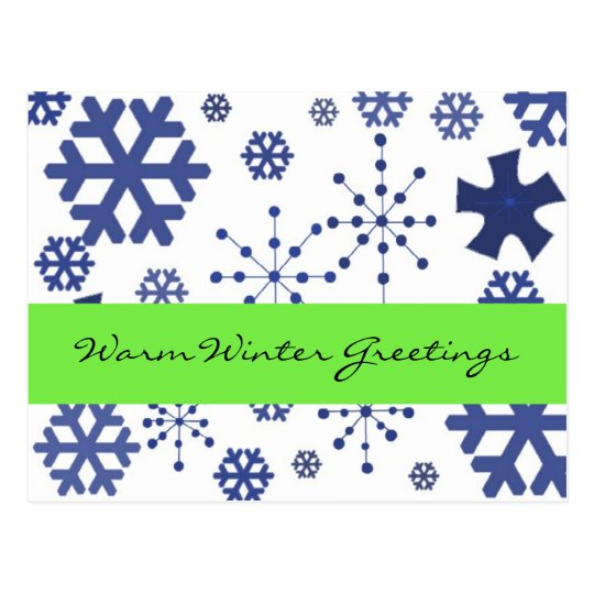 Blue Snowflakes Warm Winter Greetings Postcard