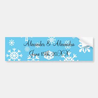 Blue snowflakes wedding favors bumper sticker