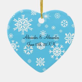 blue snowflakes wedding favors christmas ornament
