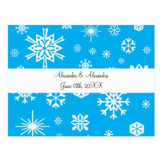 Blue snowflakes wedding favors postcards