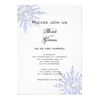 Blue Snowflakes Wedding Invitation