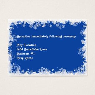 Blue Snowflakes Wedding Reception Card