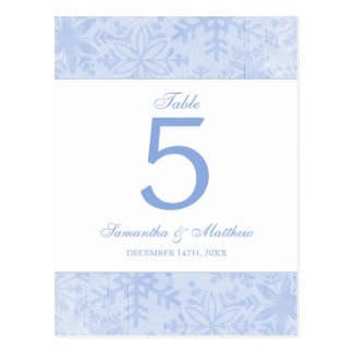 Blue Snowflakes Wedding Table Number Postcard
