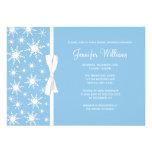 Blue Snowflakes White Bow Winter Bridal Shower Custom Announcements