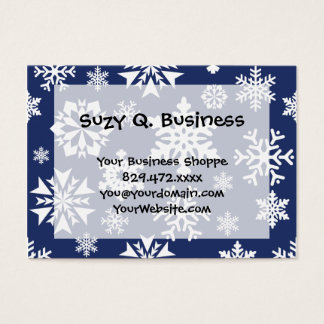 Blue Snowflakes Winter Christmas Holiday Pattern Business Card
