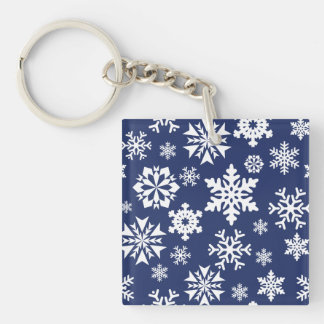 Blue Snowflakes Winter Christmas Holiday Pattern Keychain