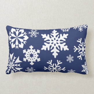 Blue Snowflakes Winter Christmas Holiday Pattern Lumbar Pillow